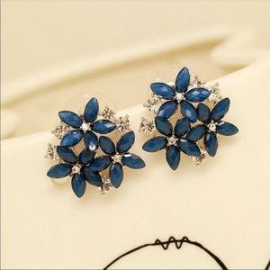 Dark Blue Crystal Flower Earrings